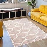 Tapiso Sari Teppich Kurzflor | Modern Teppiche in Creme Weiss mit Designer Geometrisch Marokkanisch Muster | Perfekt für Wohnzimmer, Gästezimmer | Ökotex 140 x 190 cm