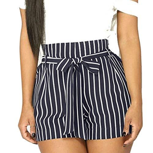UFACE Damen Gürtel Lässige Shorts Frauen-Streifen-Druck-Taschen-hohe Taillen-Verband-einfache elastische beiläufige Kurze Hosen - 100% Ägyptische Baumwolle Streifen
