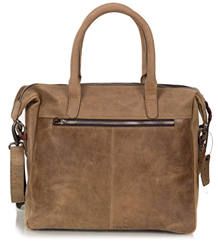 Rofu sac à main dames - sac à bandoulière en cuir souple vintage (32 x 28 x 8 cm) Marron (Tan)