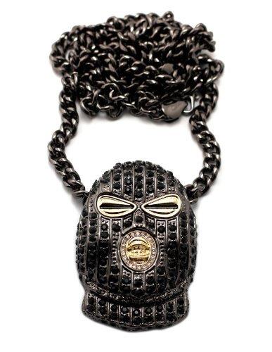 Strassbesetzter Goon Banditen Maske Anhänger mit 6 mm 91.4 cm Cuban Halskette, Schwarz/Hematit-ton