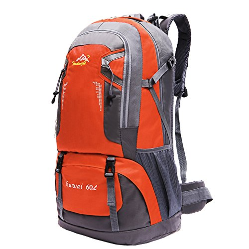 Hiking Backpack 60L Waterproof Outdoor Sport Daypack Lightweight Packable Durable for Climbing Mountaineering Fishing Camping Travel Cycling Orange 60L