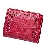 Cvthfyk Portefeuille en Cuir À la Mode décontractée Trifold en Cuir Lady Wall Quincaillerie décorative (Color : Red)
