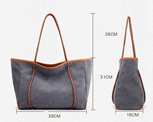 PDFGO Tote Damen Beutel Casual Messenger Bag Solid Canvas Schulter Große Rucksack Tote Bag Hand Tasche Brown