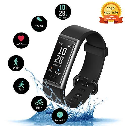 KUNGIX Fitness Armband, 0,96\'\' IP68 Wasserdichtes Fitness Tracker, Pulsmesser, Schlafüberwachung, Schrittzähler Smartwatch, Activity Tracker Uhr mit 14 Sport-Trainingsmodi, für iOS Android iPhone