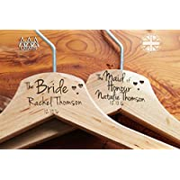 Personalised Hearts Bridal Wedding Hanger in Wood - Hanger Engraved Wedding Gift Bride, Bridesmaids and more.