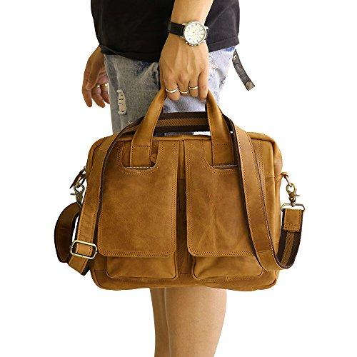 Missy Vetty Herren Vintage Echtes Leder Messenger Reisen Aktenkoffer Schulter Laptop Tasche Handtasche (Gelb) Yellow