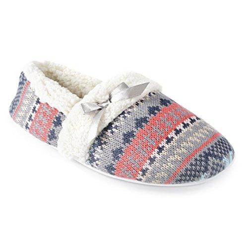 Universaltextilien Damen Strick-Pantoffeln mit Sherpa-Fleece-Innenfutter und Norwegermuster (36/37 EU) (Grau/Koralle)