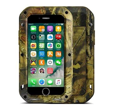 """iPhone 7 Plus 5,5 """"Metallic Strap Case, i-Nings Schwerer wasserdichter, schlagfester, schlagfester Aluminiumlegierungs-Silikon-Stoßfänger mit Gorilla-Glas-Bildschirmfolie für Apple iPhone 7 Plus 5,5 Z Jungle Camouflage"""