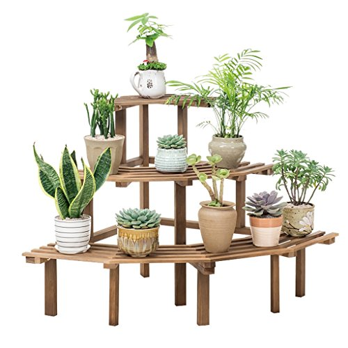 LOVELY Support de fleur d'angle en bois plein, échelle extérieure d'intérieur usine présentoir jardin jardinière de décoration