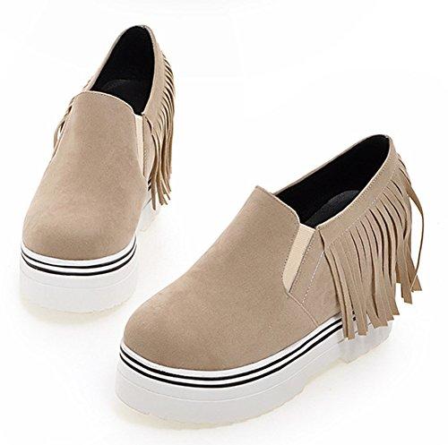 Aisun Femme Mode Frange Basse Sneakers Beige