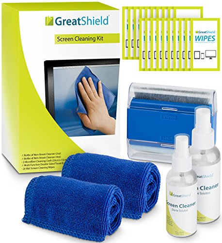 GreatShield Screen Cleaning Kit with 2 Bottles of Solution (60ml and 120ml), 2 Microfiber Cloths, 20 Non-Alcohol Screen Cleaning Wipes, and Brush for Laptops, PC monitors, Smartphones, Tablets, iPhone, iPad, LED, TVs, DSLR Cameras, Camcorders