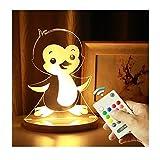 3-D Led Nachtlampe Usb Operator Verstellbares Licht Nachtlampe Mit Berührungsschalter Fernbedienung Für Kinder 3-D Illusion Lampe Innendekoration Fernlade Pinguin