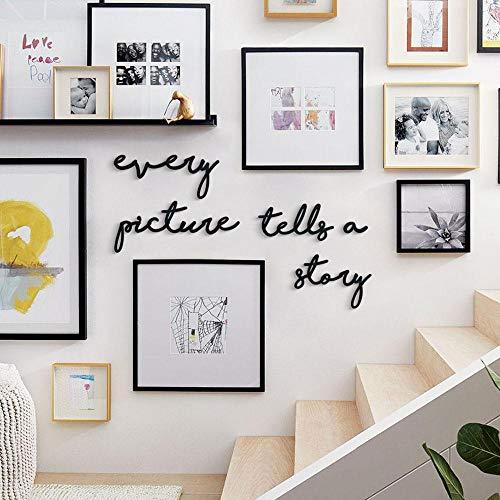 Arte inspirador de la pared |'Every Picture Tells a Story' | Metal Wall Quote de Hoagard | 5 piezas | Wall Quotes Wall Sticker | Escalera, dormitorio, decoración de la pared de la sala de estar