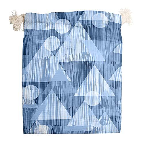 Grafik Geometrisch Blau Aufbewahrungstasche aus Baumwolle Reisen Doppelter Kordelzug Trockenfrüchte Home wiederverwendbaren Stoff Atmungsaktiver Mehrzweck-Teebeutel white 12 * 18cm -