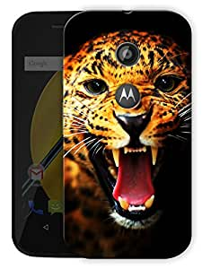 "Humor Gang Angry Leopard Face Printed Designer Mobile Back Cover For ""Motorola Moto E2"" (3D, Matte Finish, Premium Quality, Protective Snap On Slim Hard Phone Case, Multi Color)"