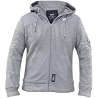 New Mens Crosshatch Thick Knitted Jacket Fleece Lined Hood Winter Coat