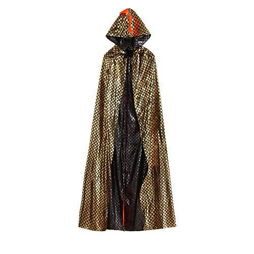 ZARLLE Capa con Capucha Disfraces para Adultos Disfraces de Halloween bebés de Halloween del Dinosaurio del Partido de la Capa Cape Robe Outfits Clothes (150, Oro)