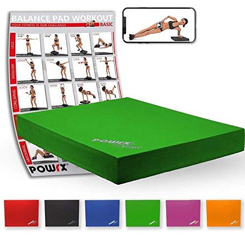 POWRX Balance Pad 40x34x5 cm inkl. Workout Ideal zum Training von Gleichgewicht, Stabilität und Koordinationstraining Versch. Farben (Grün)