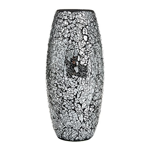 Decorative Vase Mosaic Black Handmade Glitter Vase Sparkle Glass gift present (Black)