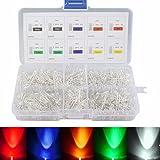 Elfeland 500x 3mm LED Leuchtdioden Set Rund Klar 2 Pin Rot Weiß Grün Gelb Blau Dioden