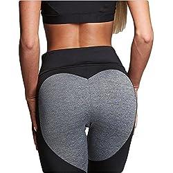 FITTOO Pantalones deportivos Mujer Yoga Leggings de Alta Cintura Elásticos y transpirables para Running Fitness 340#3 Negro & gris X-Large