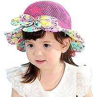 Leisial Sombrero de Pescado Algodón Respirable Sombrero de Ala Gorras Sol Paja Playa Protector Solar Verano para Niños Niñas Rosado