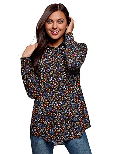 Oodji Ultra Mujer Blusa Bolsillos Pecho Longitud Regulable