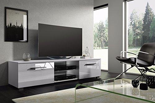 Meuble bas TV Support Silvia, Meuble sous-vasque Entertainment Media en option Sans LED (Blanc mat/Blanc brillant)