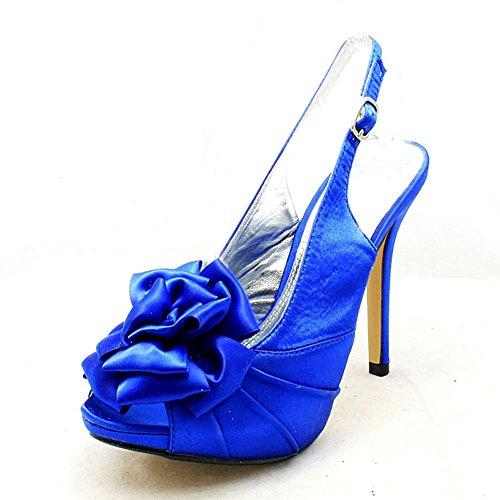 Mesdames rosette peep toe fronde demoiselle dhonneur dos / chaussures Parti satin bleu
