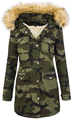 Rock Creek Damen Winter Parka Jacke Army-Look Damenjacke Kunstfell Kapuze Mit Nieten D-231 Braun M