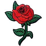 Rote Rose Gestickte Badge Eisen Auf Nähen Auf Patch