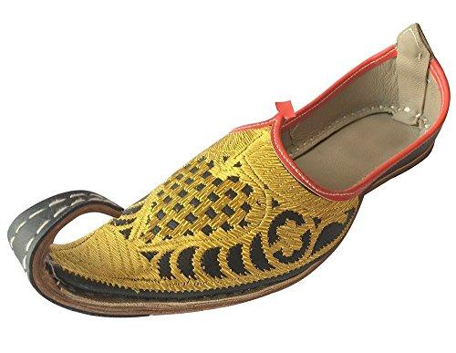 Step n style aladdin uomini scarpe khussa indiano fatto a mano in pelle infradito khussa juti, oro (gold), 44
