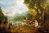 """Kunstdruck / Poster: Jean Antoine Watteau """"Die Einschiffung nach Kythera"""" - hochwertiger Druck, Bild, Kunstposter, 60x40 cm"""