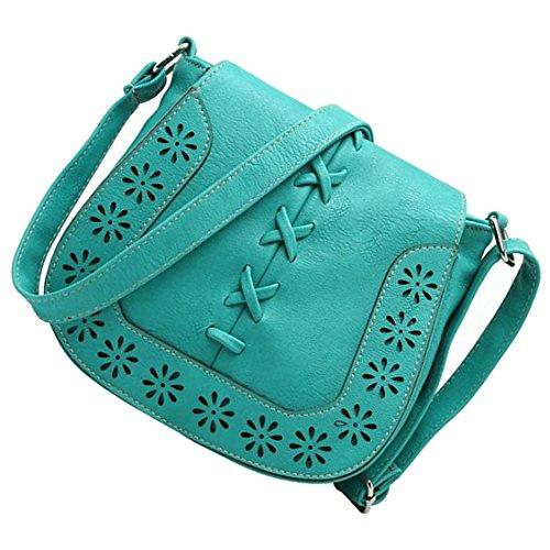 borse di Crossbody - TOOGOO(R)Donne Messenger Bag New Giapponese retro' fresco intagliato scava fuori spalla borse Delle Signore croce corpo borse borsa della donna di Marrone-rosso verde