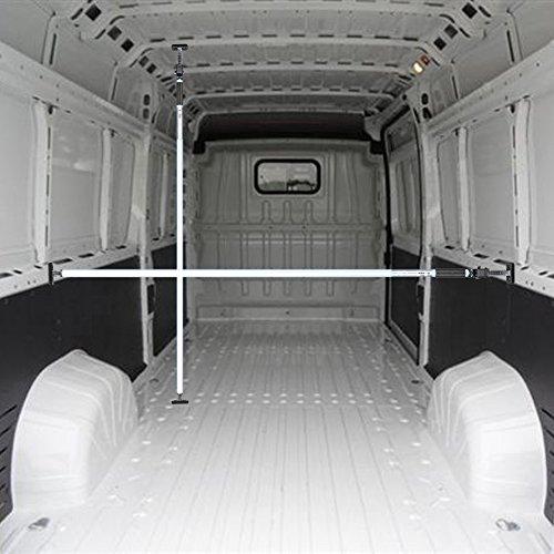 Preisvergleich Produktbild ALLEGRA Ladungssicherung für PKW LKW und Transporter,  Sperrstange für Anhänger Klemmstange für die Tür,  Ladesicherung für Auto Ausziehbar 4 Größen (1, 60m - 2, 90m,  Weiß)
