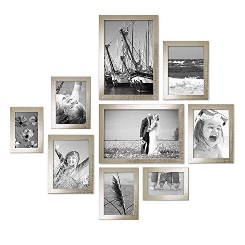 Silber Modern Massivholz-Rahmen mit Glasscheibe und Zubehör / 10x15, 13x18, 15x20 und 20x30 cm / Fotorahmen (Schwarz, Weiß Und Silber Dekorationen)