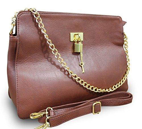 Made in italy sac de sac à main pour femme en cuir nappa peint à la main avec chaîne (marron)
