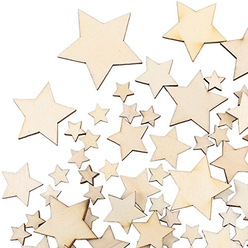 Wooden Stars Embellishments for Craft Projects Home Wedding Party Decoration, Mixed Wood Stars Embellishments 10 mm 20 mm 30 mm 40 mm,100PCS