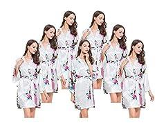 Idea Regalo - FETE FABULOUS, set di 7 kimono pavone, vestaglia di raso, addio al nubilato, te, matrimonio, vestaglie per sposa/damigella White Medium