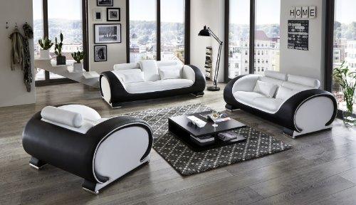 SAM® Design Garnitur Vigo 3 teilig in Weiß / weiß / schwarz futuristisches Design by Ricardo Paolo 3-Sitzer Couch 230 cm 2-Sitzer 152 cm und Sessel 108 cm mit Getränkehalter Kopfstützen verstellbar angenehme Polsterung montiert Auslieferung durch Spedition