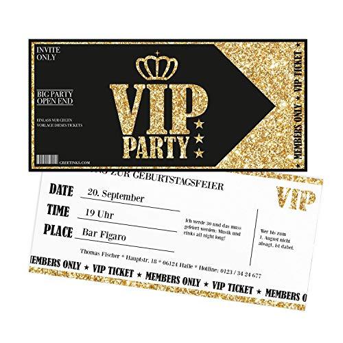 Einladungskarten Geburtstag Gold VIP | 15 Stück | Lady's Night | Inkl. Druck Ihrer Texte |Einladungen Geburtstag | Jugendweihe | Kindergeburtstag | Karte Einladung | Einladungskarte Mädchen
