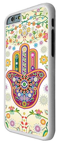 052-Lucky Sharm Floral Hamsa Main shaby Chic Coque iPhone 66S 4.7Design Fashion Trend Case Back Cover Métal et Plastique-Blanc