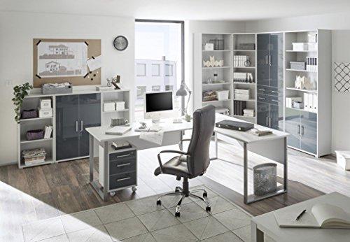 Komplettes Arbeitszimmer Büro Möbel Set Komplettset OFFICE LUX in lichtgrau Glas graphit Lack 9-teilig