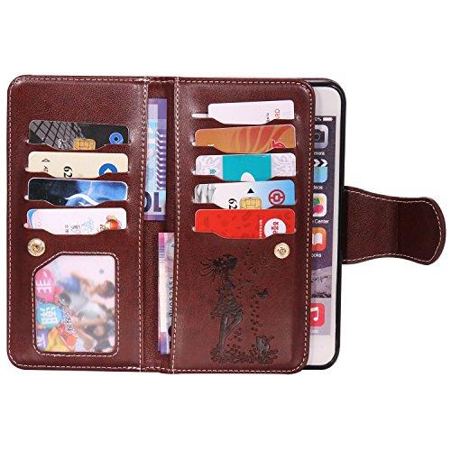 EKINHUI Case Cover Gepresste Blumen Geprägte Mädchen und Katzen-Muster PU-Leder-Kasten-Abdeckung mit Handschlaufe und 9-Karten-Slot-Foto-Rahmen für IPhone 6S plus ( Color : Brown ) Brown