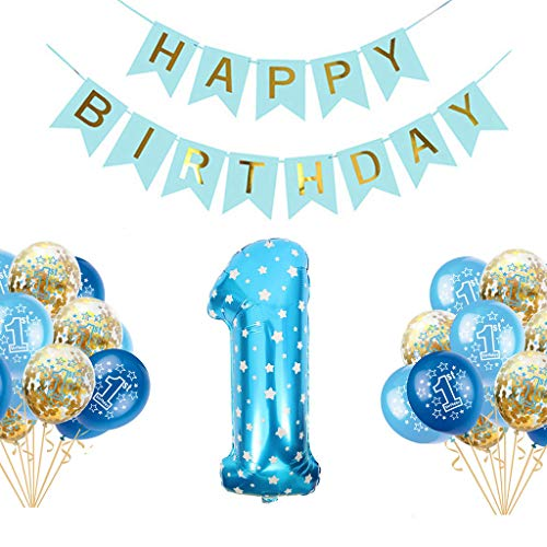 burtstag Party Luftballons Set Happy Birthday Baby Boy Supplies für Junge o Mädchen Kindergeburtstag Deko Jungen Mädchen 1 Jahr (Blau) , Perfekte Dekoration für Babyparty ()
