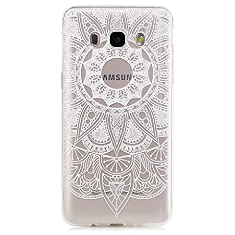 Samsung Galaxy J5 6/ J5 2016 Clear Case,Transparent Rubber Case for Samsung Galaxy J5 6/ J5 2016,Meet de Clear Shock Proof Soft Durable Scratch Resistant Jelly Rubber TPU Protective Case Cover Skin Shell for Samsung Galaxy J5 6/ J5 2016 with Beautiful Colourful Pattern Design-White mandala