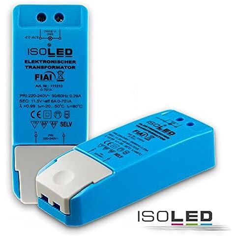 12V/AC, 0?70W, carico minimo senza rumore, senza trasformatore di alimentazione + Dimmer LED G4MR16MR11GU5.3LED, alogena, senza carico minimo