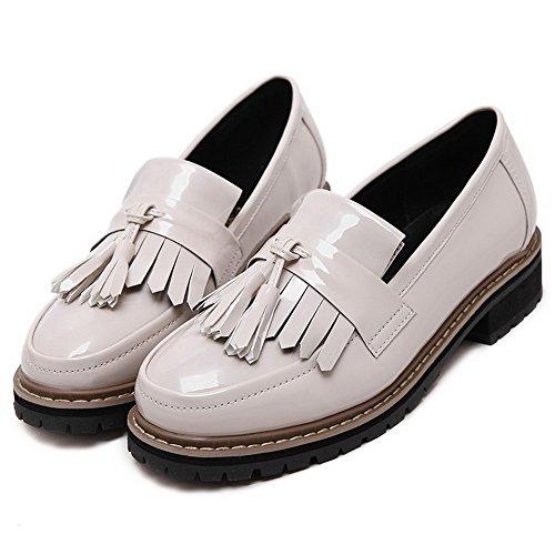 VogueZone009 Femme à Talon Bas Verni Couleur Unie Tire Rond Chaussures Légeres Beige
