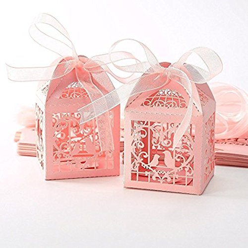Candy Box Packaging for Wedding Baby Shower Christmas Birthday Party, TankerStreet Sweet Box Empty Set Hollow Birds with Ribbons, Small Chocolates Gift Box Wedding Decorations for Sweet 50pcs - Pink