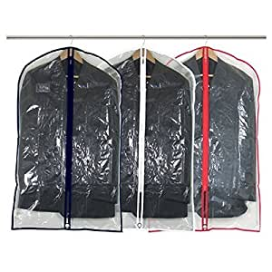 Hangerworld Synthetic 40-Inch Suit Garment Clothes Cover Bags with Mixed Trim Colours 2, Clear